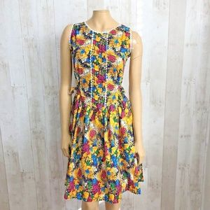 [Vintage] 80s Handmade Tropical Floral Print Dress